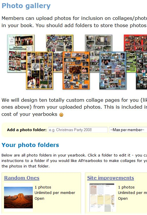 Cleaned up photo gallery area on yearbook site