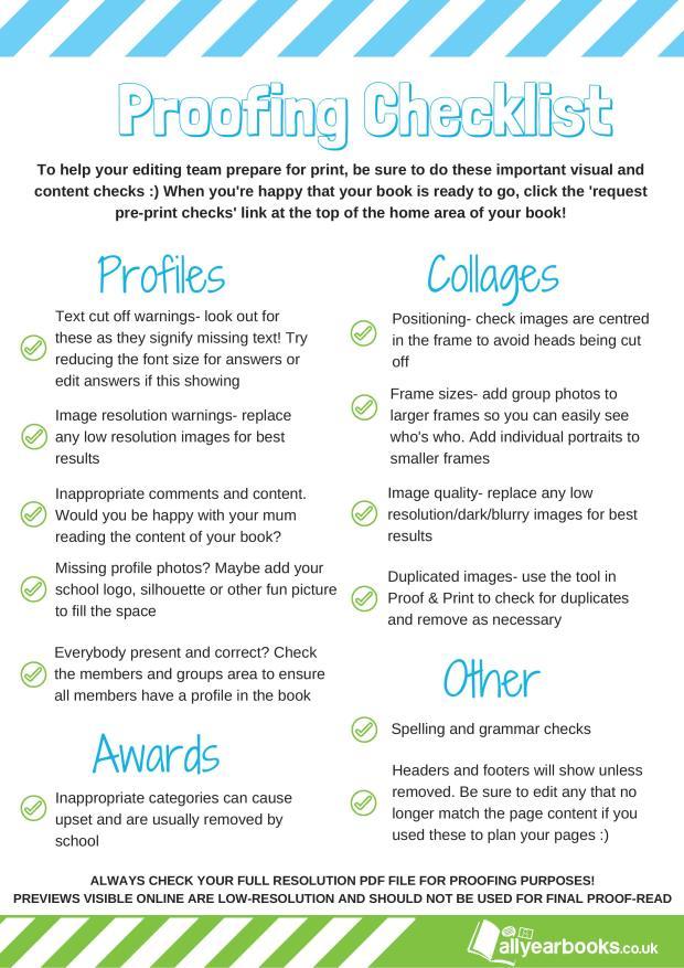 Proofing Checklist