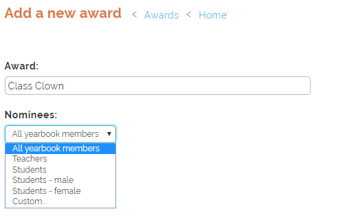 Add award and customising nominees