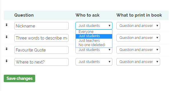 Profile question filter